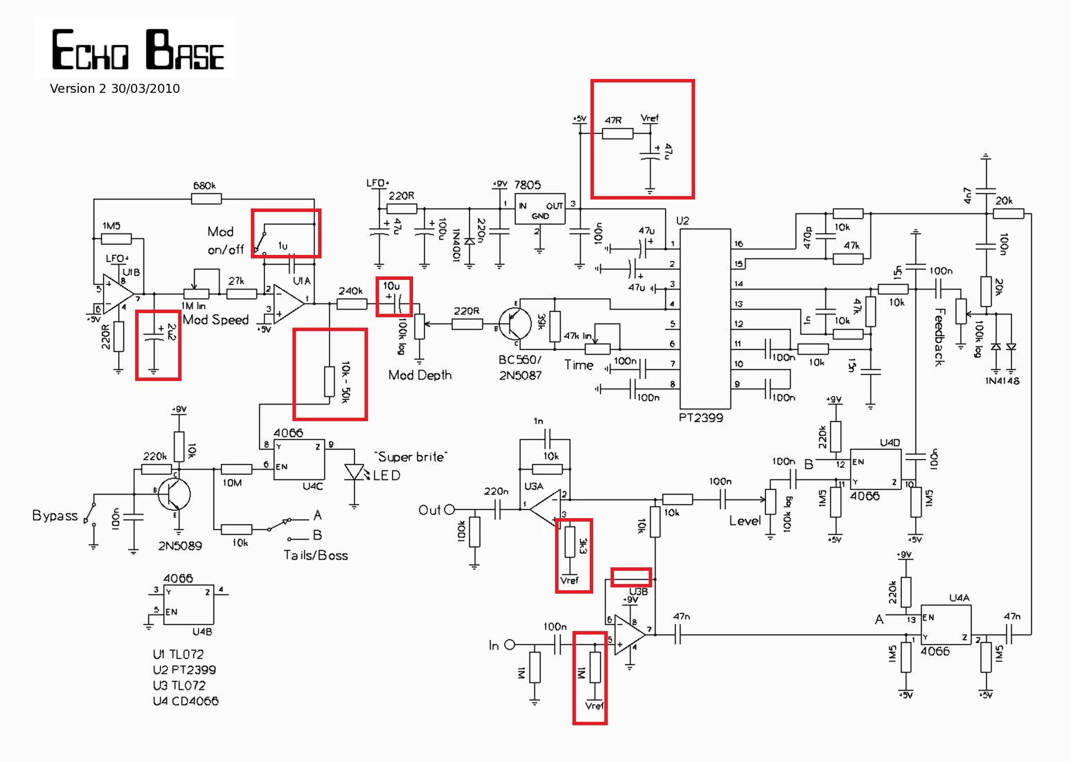 echo base a new pt2399 delay this is how i search for something in long threads here via search engine like duckduckgo echo base version 2 schematic site diystompboxes com